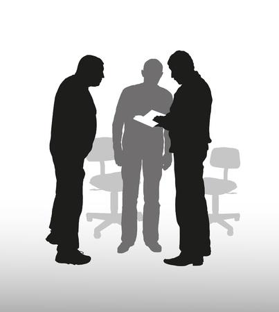 business discussion: Negocios de composici�n de temas con siluetas del hombre