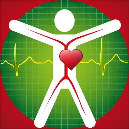 医療シンボル -ECG 波  イラスト・ベクター素材