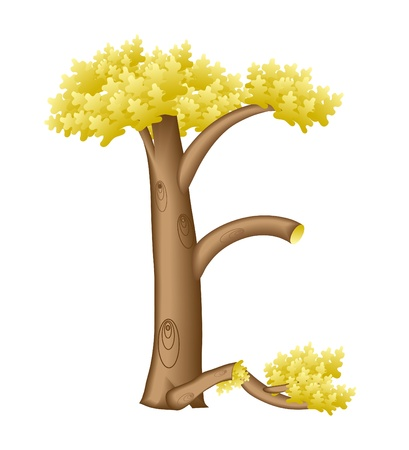 vivid colors: The letter E in the form of a tree Illustration