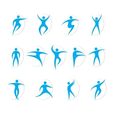 Conjunto de deportes y baile de vectores de símbolos