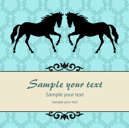 horses in field: Patten background with horse vector
