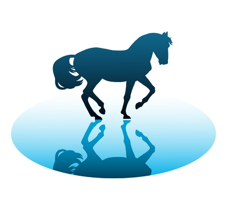 vector running horses on a white background