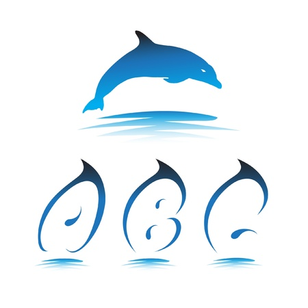 Font the Dolphin. Letters A, B, C vector Vector