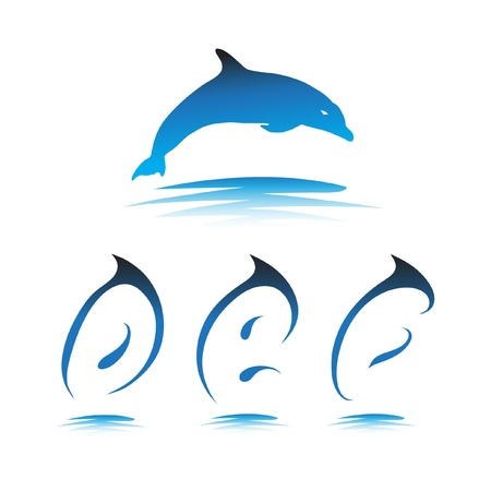 Font the Dolphin. Letters D, E, F vector Stock Vector - 9865912
