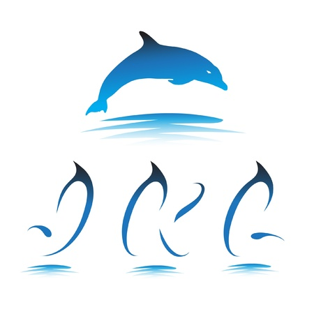 Font the Dolphin. Letters J, K, L vector Stock Vector - 9865911
