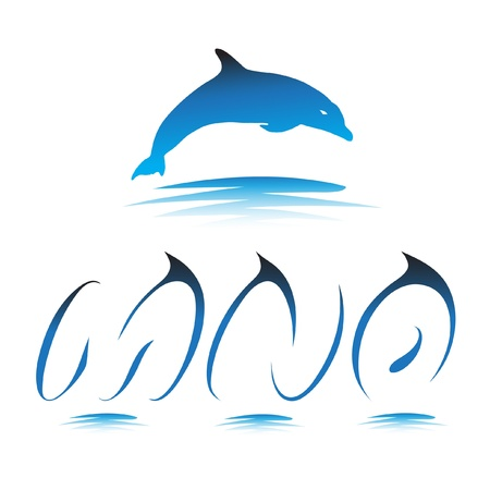 Font the Dolphin. Letters M, N, O vector Vector