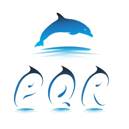 Font the Dolphin. Letters P, Q, R vector Stock Vector - 9865906
