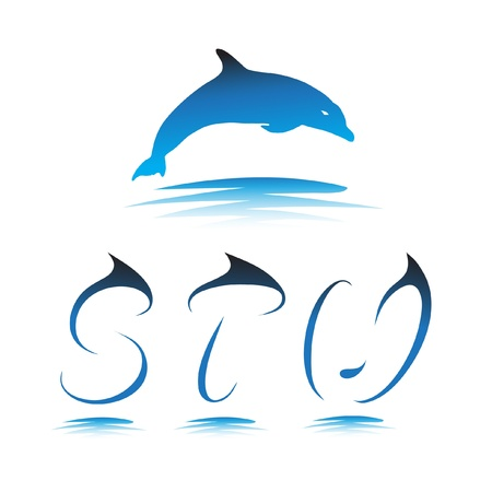 Font the Dolphin. Letters S, T, U vector Vector