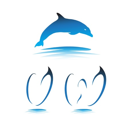Font the Dolphin. Letters V, W vector Stock Vector - 9865902