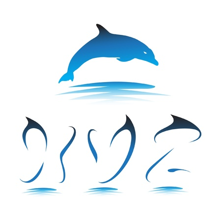 Font the Dolphin. Letters X, Y, Z vector Stock Vector - 9865904