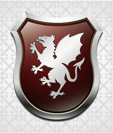 blazon: Arms with dragon vector