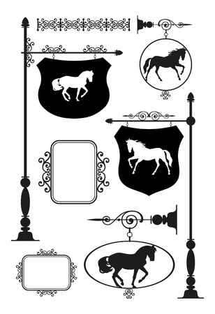 Wrought Iron Signage with horse set Vector