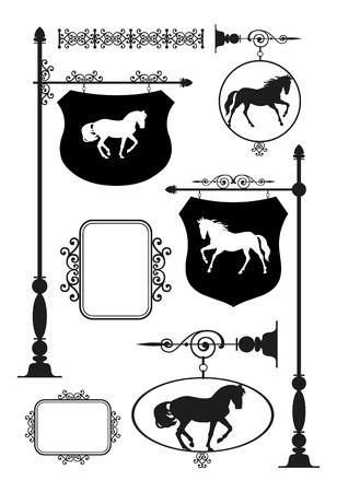 wrought: Wrought Iron Signage with horse set