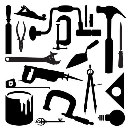 マニュアル: ツールのいくつかの種類のシルエット  イラスト・ベクター素材