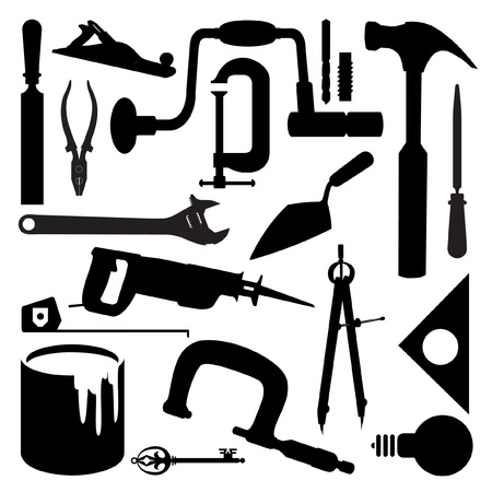 manual workers: silhouettes of several kinds of tools