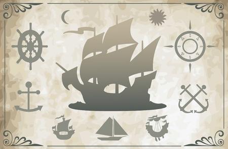 Ancient ships Stock Vector - 9931934