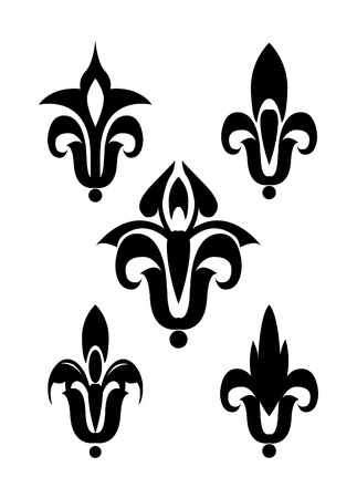 royal french lily symbols: Heraldic lily vector silhouette isolated
