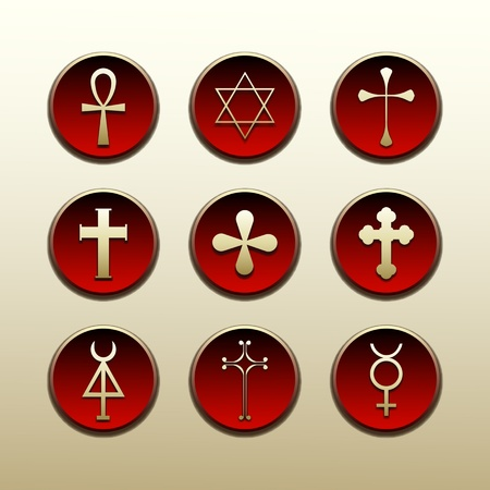 Religious symbols nations of the world Vector