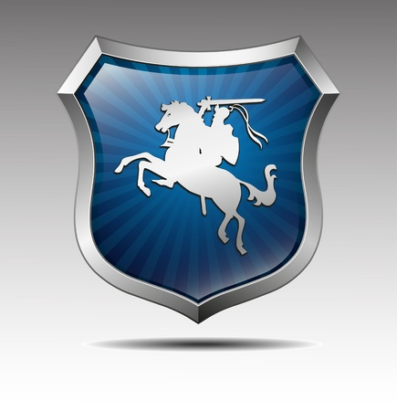 metal shield: Arms with the knight on horse vector