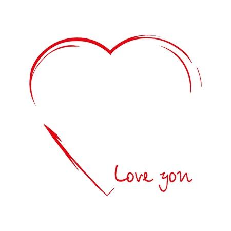 Corazón en el dibujo de la forma sobre fondo blanco