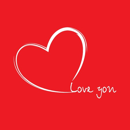 Heart in the form drawing on red background Vector