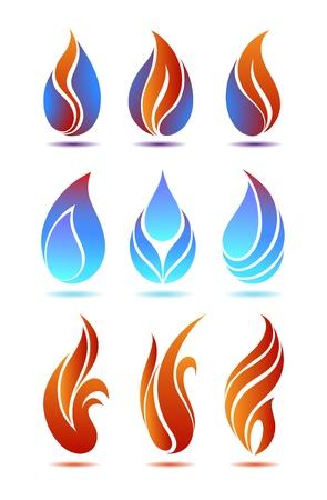 fuego azul: S�mbolos rojos y azules de incendios en vector de fondo blanco Vectores