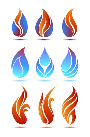 fire symbol: Symbols red and blue fire on white background vector