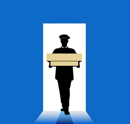 messenger: Delivery man with box in hands on blue background