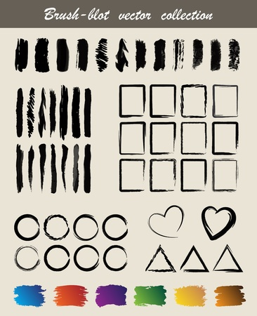 Brush-blot  vector  collection Vector