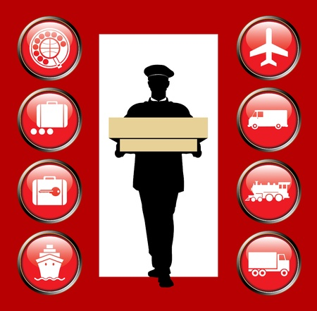 Icons delivery service cargoes different types transport Vector