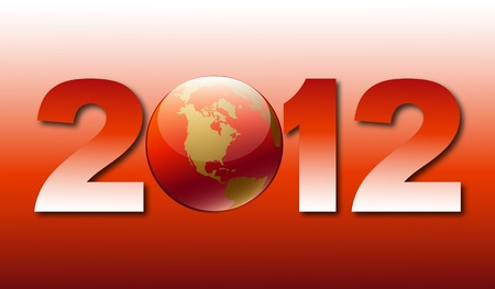 Greeting card with new 2012 with globe image on red background Vector
