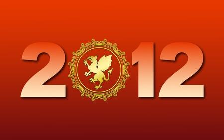Carte de voeux avec de nouvelles 2012 avec l'or de dragon sur fond rouge