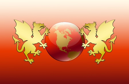 Greeting card with new 2012 with two gold dragons holding globe on red background Vector
