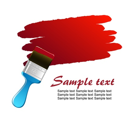 brush stroke: Flat brush leaving red trace on white wall vector Illustration
