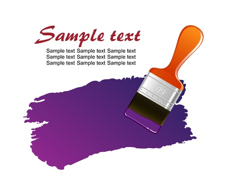 paints: Flat brush leaving red trace on white wall vector Illustration