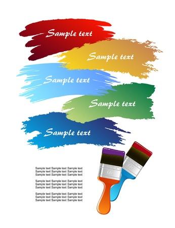 leaving: Platte penseel dat sporen op witte muur vector Stock Illustratie