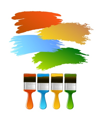 Multi-coloured brushes with paint traces on white background vector Stock Vector - 10706230