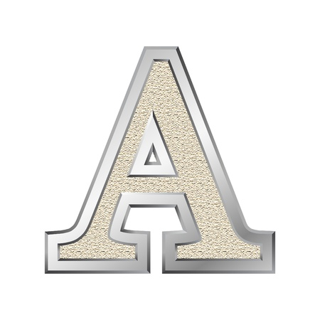 Metal letter A with a silvery fringing photo