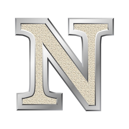 Metal letter N with a silvery fringing photo