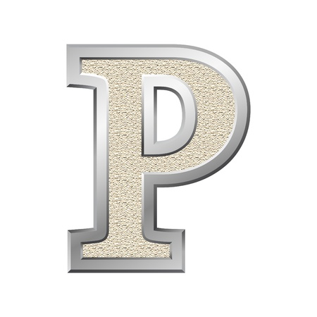 Metal letter P with a silvery fringing photo
