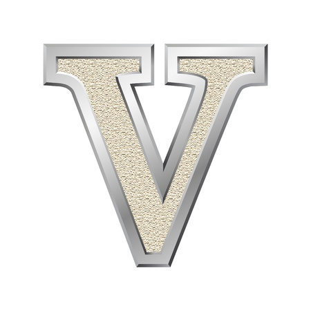 Metal letter V with a silvery fringing photo