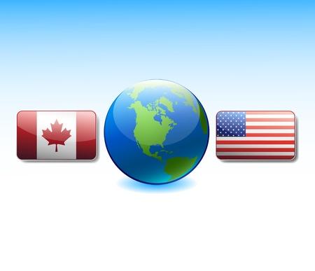 Drapeaux Etats-Unis et au Canada au monde