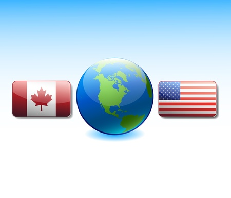 Flags USA and Canada at globe Vector