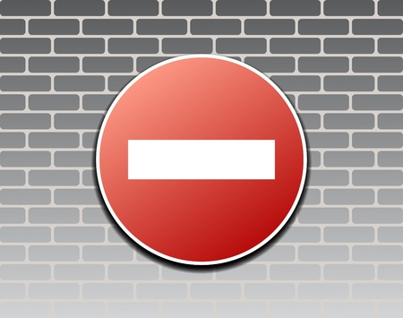 no trespassing: Prohibiting sign against brick wall Illustration