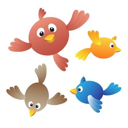 veréb: Repülő madarak, fehér háttér Illusztráció