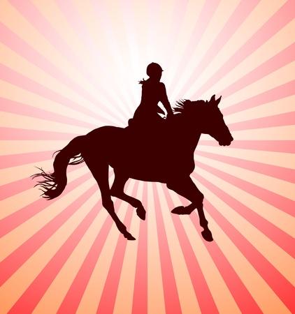 jockey: La realizaci�n de caballo con jinete vector Vectores