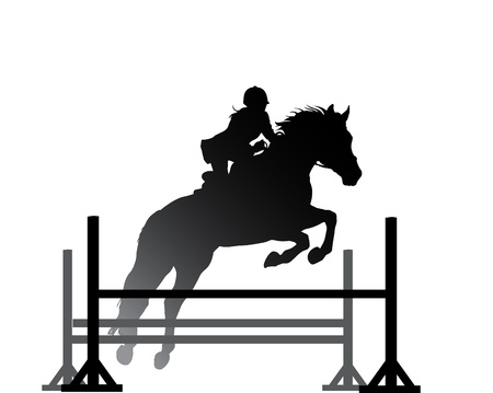 free riding: Overcoming of obstacles in horse symbol vector