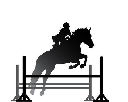 caballo saltando: Superación de obstáculos en el vector caballo símbolo Vectores