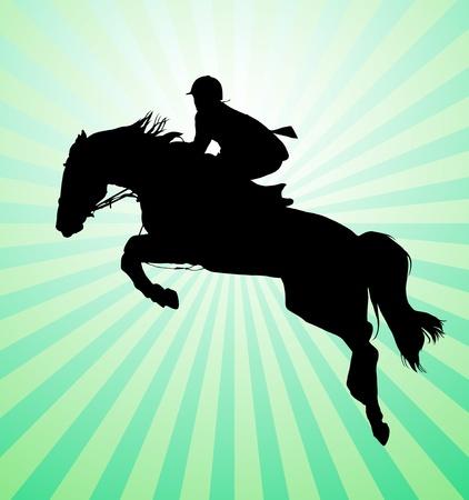 La realización de caballo con jinete Ilustración de vector