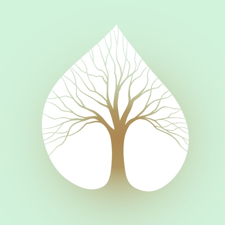 Symbol tree in the form silhouette against leaf Vector